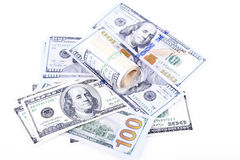 Dollar banknotes on a white background Stock Images