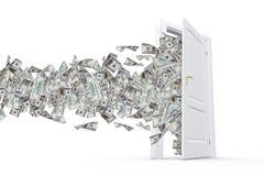 Dollar Banknotes in White Door Stock Photo