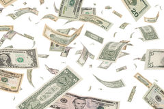 Dollar. Banknotes windfall money rain Stock Photos