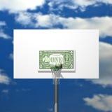 Dollar basketball board, ring, grid and ball Royalty Free Stock Photos