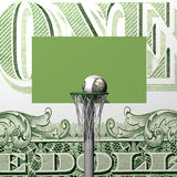 Dollar basketball board, ring, grid and ball Royalty Free Stock Photos