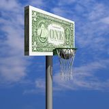 Dollar basketball board, ring, grid and ball Stock Images