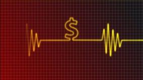 Dollar beat. Cardiogram curve with dollar symbol Stock Photography
