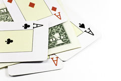 Dollar bet poker Royalty Free Stock Image