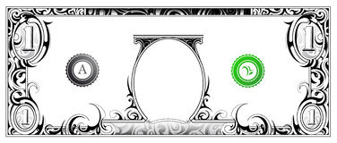 Dollar bill. American dollar bill with artistic ornament