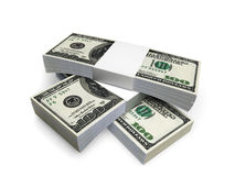 Dollar bill 3 packs f1s. Stack of 3 packs of 100 dollar bills Stock Images