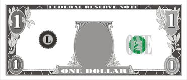 Dollar bill. American dollar bill without face. Vector clipart. Available corel file royalty free illustration