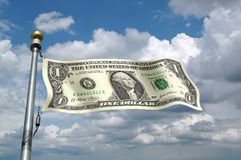 Dollar Bill as Flag Stock Image