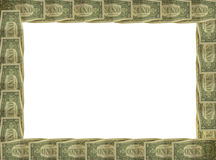 Dollar bill border with white background. A dollar bill repeated round the edge of a picture frame border on a white background Stock Images