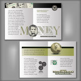 5 Dollar Bill Brochure Layout Template. Four Page Brochure Layout Template with Money Elements Stock Photos