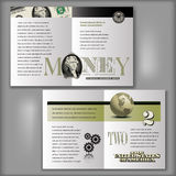 2 Dollar Bill Brochure Template. Four Page Brochure Layout Template with Money Elements Royalty Free Stock Image