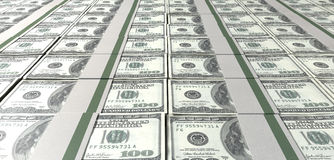 Dollar Bill Bundles Laid Out. A laid out collection of bundled one hundred dollar bill notes Stock Photography