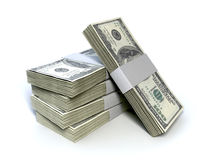 Dollar Bill Bundles Pile Stock Photos