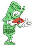 Dollar Bill Character Arkivfoton