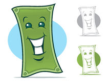 Dollar Bill Character. Dollar Bill Cartoon Character with a smiling Face vector illustration