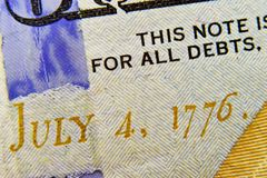 Dollar bill close up with date July 4, 1776. Royalty Free Stock Photo