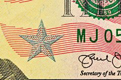 Dollar bill close up with silver star and visible fiber into paper Royalty Free Stock Photo