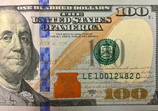 100 Dollar Bill. A closer look at the 100 dollar bill royalty free stock photo