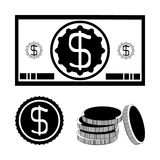 Dollar bill, a coin, a stack of coins. Black and white set: a dollar bill, a coin, a stack of coins. Financial currency vector illustration