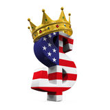 Dollar Bill With Crown. Isolated on white background. 3D render royalty free illustration