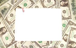 Dollar bill currency border  on white Royalty Free Stock Photos