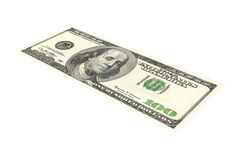 100 Dollar Bill. 3D Illustration. Isolated on white Royalty Free Stock Photography