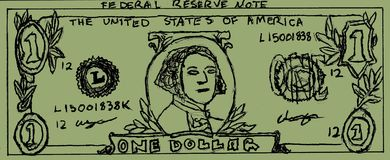 Dollar Bill Drawing. Hand Drawing of a 1 Dollar Bill, Purposely made to look drawn royalty free illustration