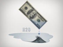 100 Dollar bill drips water. 100 Dollar bill drips fresh water Royalty Free Stock Photo