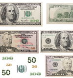 Dollar bill elements isolated on white. Background Royalty Free Stock Image