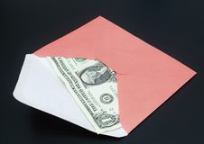 Dollar bill in envelope Stock Photos