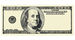 100 Dollar Bill Front with copyspace, isolated for design. Image Stock Image