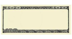 100 Dollar Bill Front with copyspace, isolated for design. 100 Dollar Bill Front with No Face, isolated for design on white, image stock photography