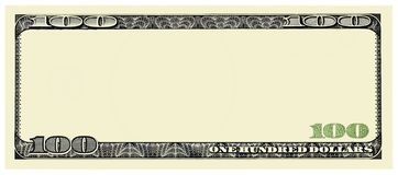 100 Dollar Bill Front frame for design isolated on white royalty free stock images