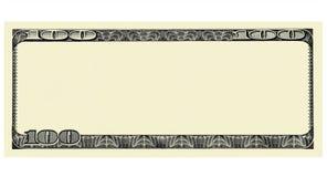 100 dollar Bill Front med copyspace som isoleras för design Arkivbild