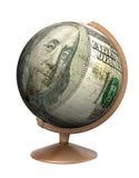 Dollar bill globe Royalty Free Stock Photography