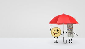 A dollar bill and a golden coin with arms and legs standing under a red umbrella and smiling. Royalty Free Stock Photo