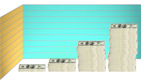 100 dollar bill - graph. Concept image of 100 hundred dollar bills stacked in various groupings of different heights in a graph formation stock illustration