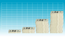100 dollar bill - graph. Concept image of 100 hundred dollar bills stacked in various groupings of different heights in a graph formation royalty free illustration