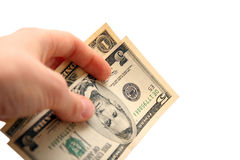 Dollar bill in hand Stock Image