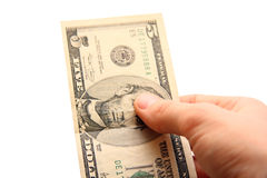 Dollar bill in hand Stock Photography