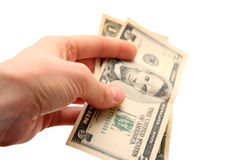 Dollar bill in hand Royalty Free Stock Photos