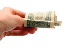 Dollar bill in hand Royalty Free Stock Images