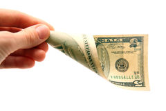 Dollar bill in hand Royalty Free Stock Photo