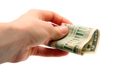 Dollar bill in hand Royalty Free Stock Photography