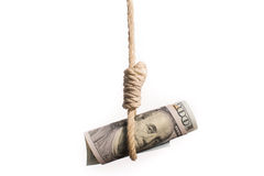 Dollar bill hangman Royalty Free Stock Photo