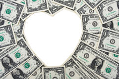 Dollar Bill Heart Border Royalty Free Stock Photos