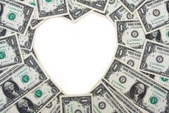 Dollar Bill Heart Border. One dollar bills making heart shape sitting on a white background, dollar bill heart border Royalty Free Stock Photos