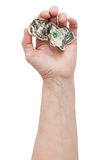 Dollar bill in his hand an old man Stock Photography