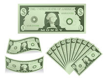 Dollar Bill Illustration. Collection of various paper money icons Stock Image