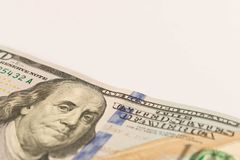 100 dollar bill. on white background. Selective focus.  royalty free stock photo